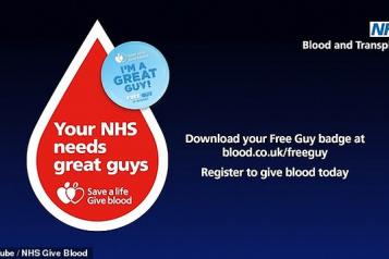 Your NHS needs great guys blood donation image