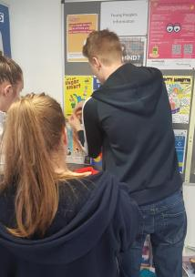 Young volunteers in a GP surgery